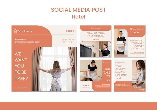 Modelo de postagem de mídias sociais do hotel