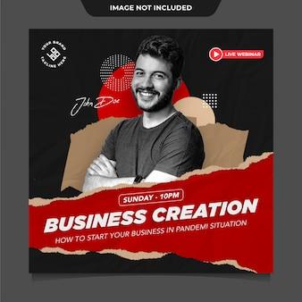 Modelo de postagem de mídias sociais do instagram de negócios