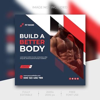 Modelo de postagem de mídias sociais do instagram fitness