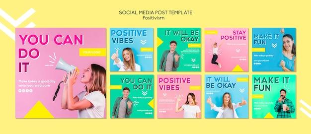 Modelo de postagem de mídias sociais do positivismo