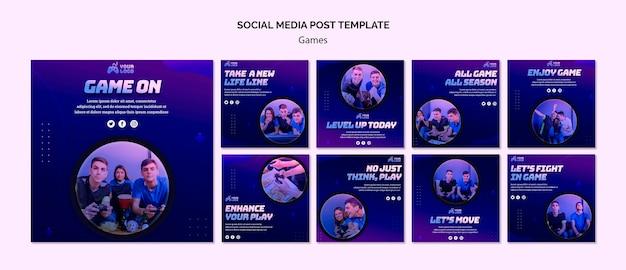 Modelo de postagem de mídias sociais no local do jogo