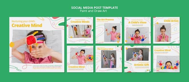 Modelo de postagem de pintar e desenhar mídias sociais de arte