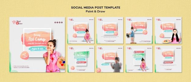 Modelo de postagem de pintar e desenhar mídias sociais