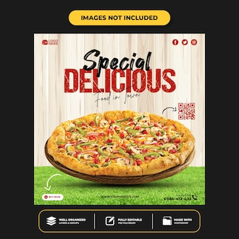 Modelo de postagem de pizza em mídia social deliciosa