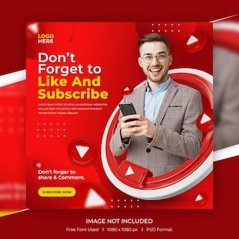 Modelo de postagem de promoção de canal do youtube de conceito criativo de mídia social