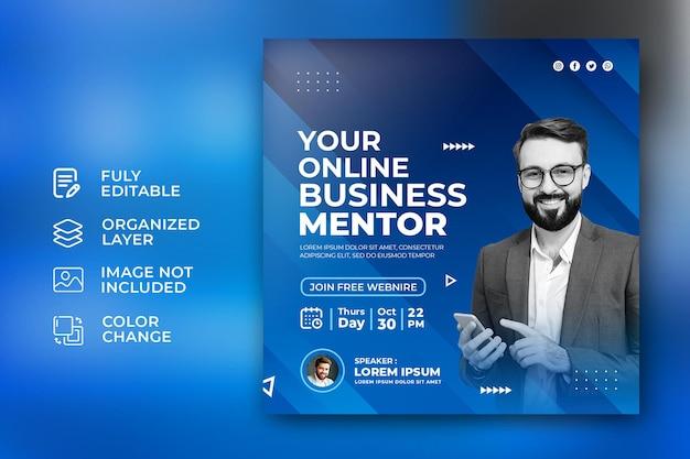Modelo de postagem de promoção de mídia social corporativa para mentor de negócios on-line em fundo azul abstrato