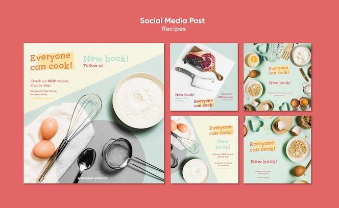 modelo de postagem de receitas de culinária em mídias sociais