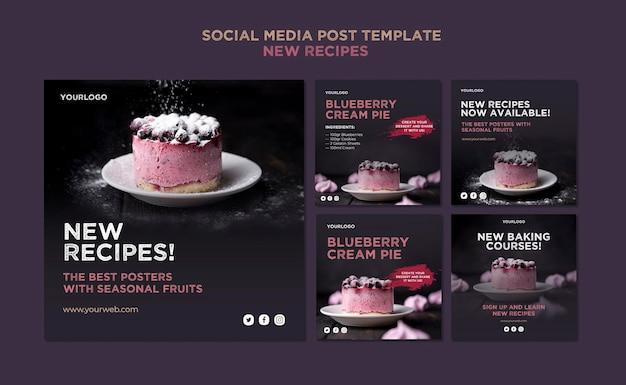 Modelo de postagem de receitas doces em mídia social