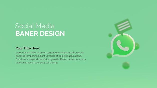 Modelo de postagem de renderização 3d com logotipo do whats app
