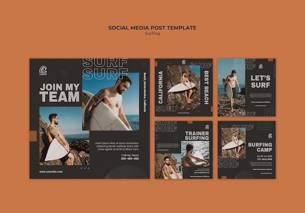 Modelo de postagem de surf nas redes sociais