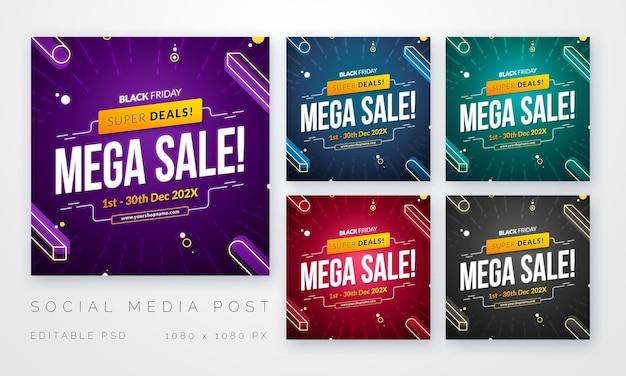 Modelo de postagem de vendas de mídia social square