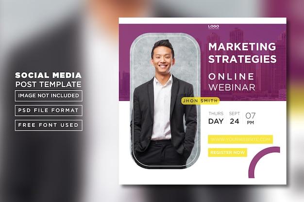 Modelo de postagem de webinar de negócios de marketing digital em mídia social psd premium