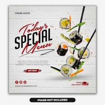 Modelo de postagem delicioso sushi na mídia social