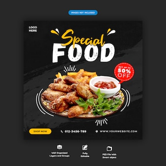 Modelo de postagem do instagram de mídia social de menu de comida