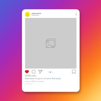 Modelo de postagem do instagram de mídia social