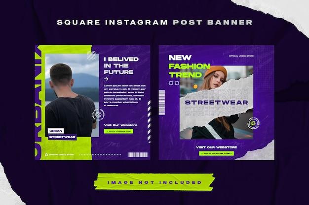 Modelo de postagem do instagram de moda azul escuro