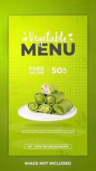 Modelo de postagem do instagram do menu vegetal e postagem nas redes sociais