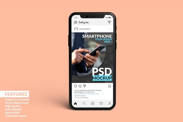 Modelo de postagem do instagram na maquete de smartphone premium