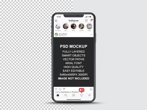 Modelo de postagem do instagram para histórias de perfil e feed no smartphone. maquete de telefone celular de vista frontal
