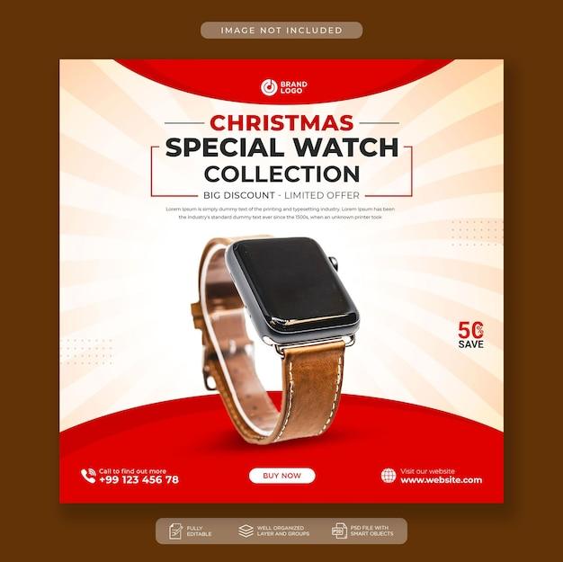 Modelo de postagem do instagram para venda de relógios de natal nas redes sociais