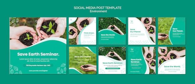 Modelo de postagem do tema ambiente para mídias sociais