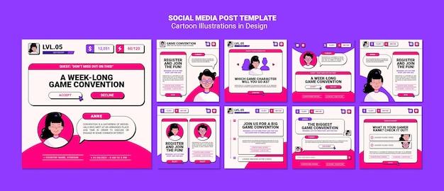 Modelo de postagem em mídia social com ilustrações de desenhos animados