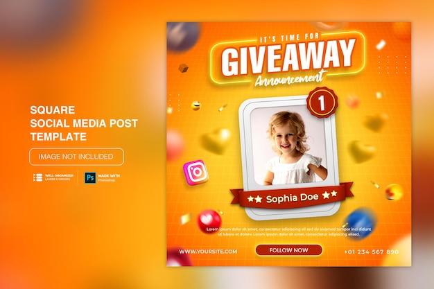 Modelo de postagem em mídia social com promoção de sorteio para instagram facebook
