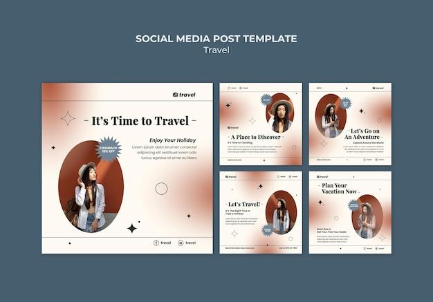 Modelo de postagem em mídia social com tempo de viagem