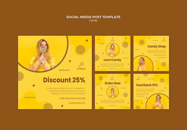 Modelo de postagem em mídia social da loja de doces