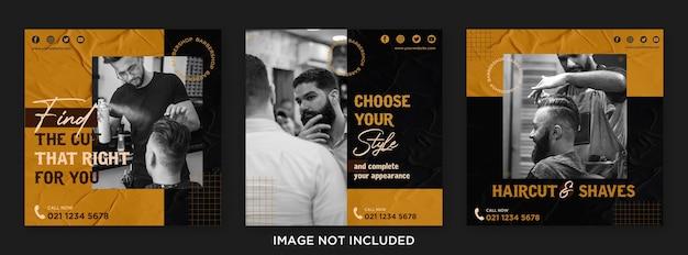 Modelo de postagem em mídia social de abertura de barbearia