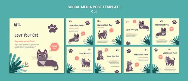 Modelo de postagem em mídia social de adoção de gatos