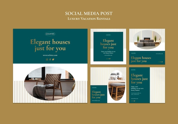 Modelo de postagem em mídia social de aluguel de férias de luxo