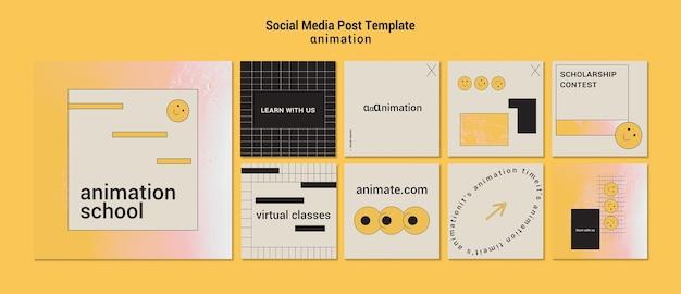 Modelo de postagem em mídia social de animação