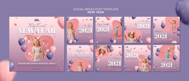 Modelo de postagem em mídia social de ano novo