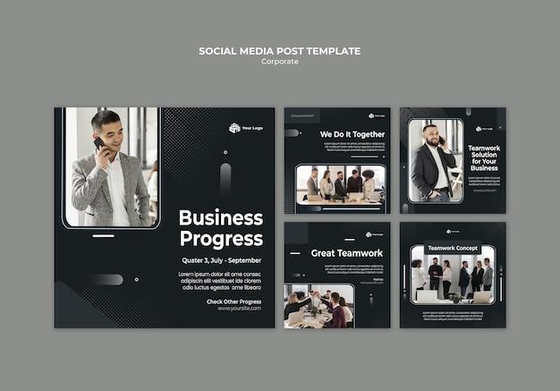 Modelo de postagem em mídia social de anúncio corporativo