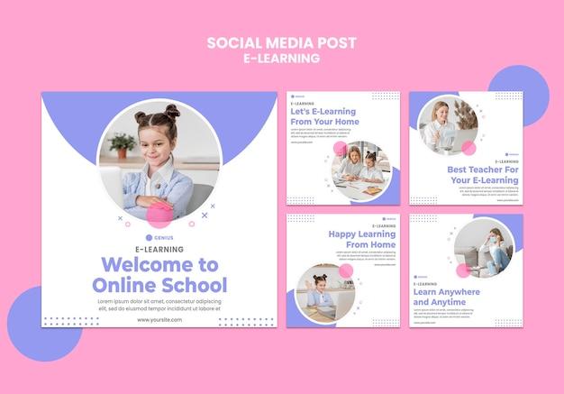 Modelo de postagem em mídia social de anúncio de e-learning