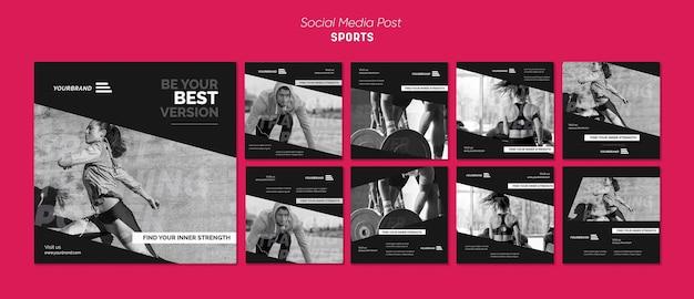 Modelo de postagem em mídia social de anúncio de esportes