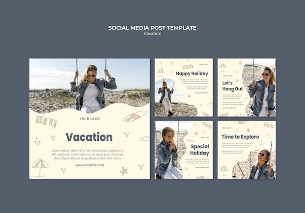 Modelo de postagem em mídia social de anúncio de férias