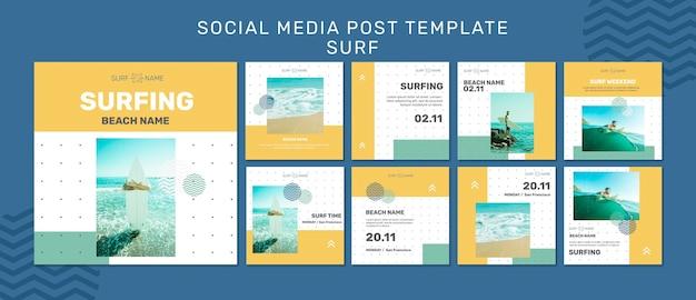 Modelo de postagem em mídia social de anúncio de surfe