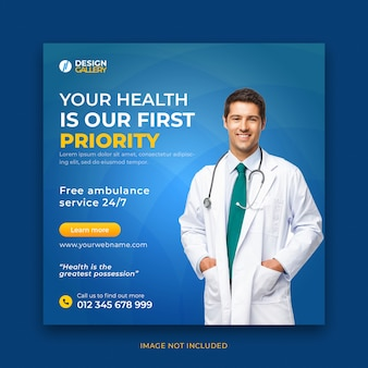 Modelo de postagem em mídia social de banner web de saúde