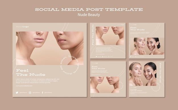 Modelo de postagem em mídia social de beleza nua