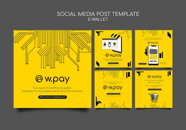 Modelo de postagem em mídia social de carteira eletrônica