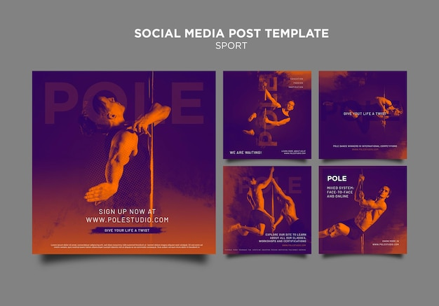 Modelo de postagem em mídia social de classe polonesa