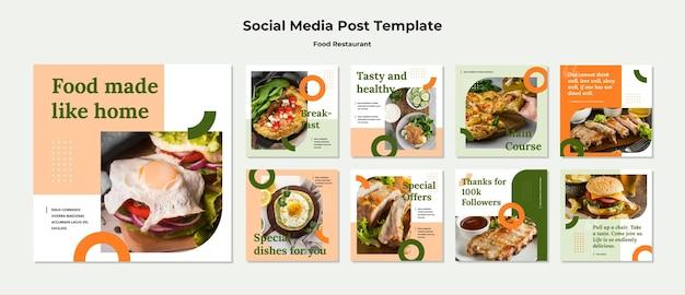 Modelo de postagem em mídia social de conceito de comida