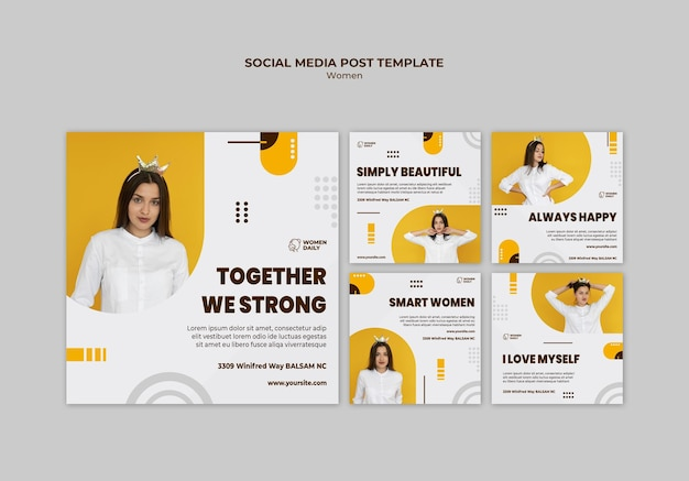 Modelo de postagem em mídia social de conferência de feminismo