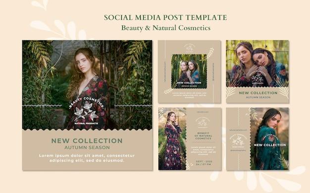 Modelo de postagem em mídia social de cosméticos naturais