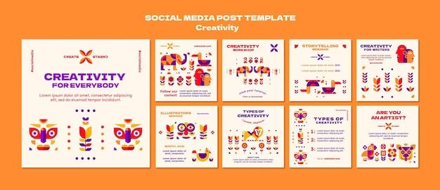 Modelo de postagem em mídia social de criatividade