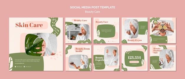 Modelo de postagem em mídia social de cuidados com a beleza