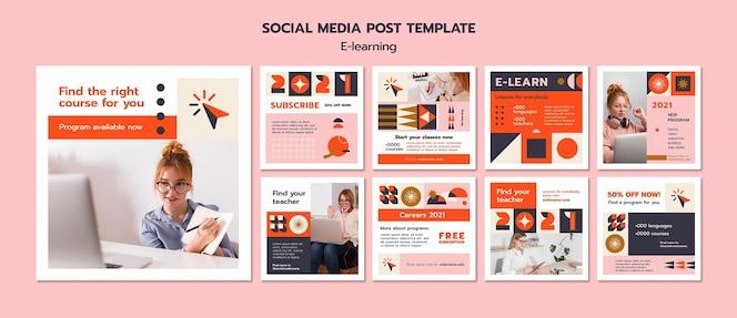 Modelo de postagem em mídia social de e-learning