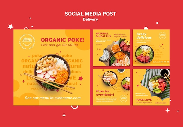 Modelo de postagem em mídia social de entrega